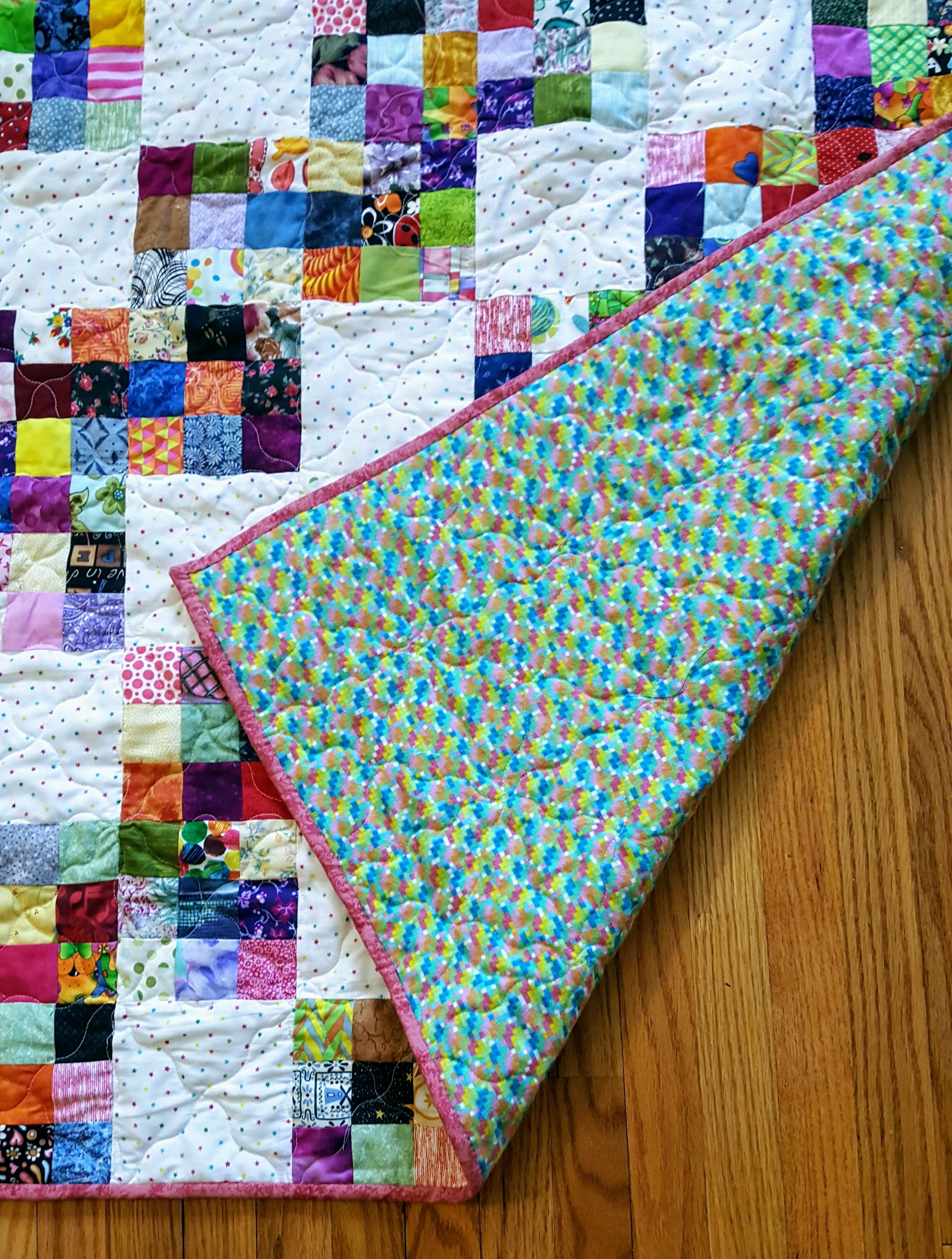 scrappy nine patch quilt