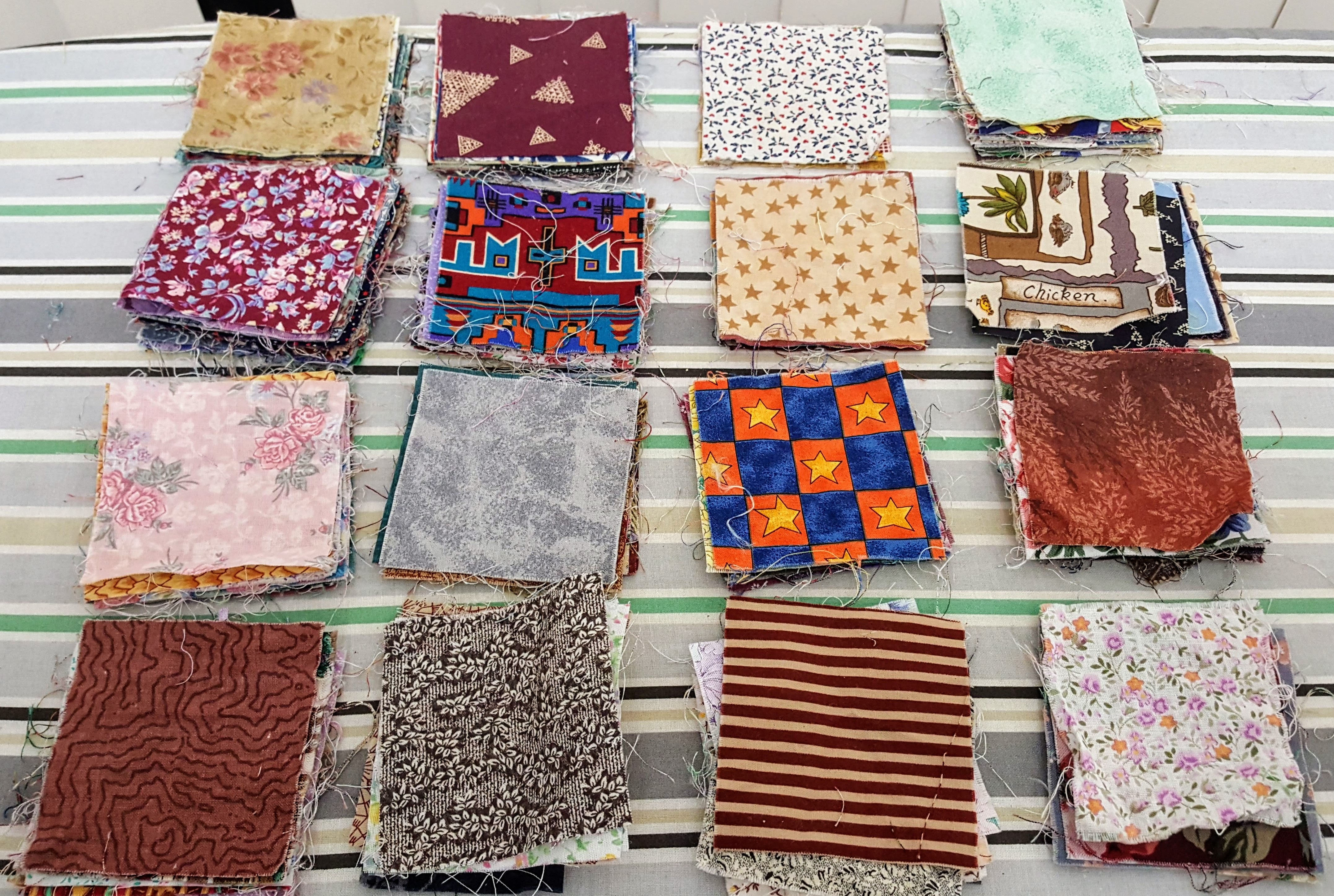 fabric, 3 inch squares