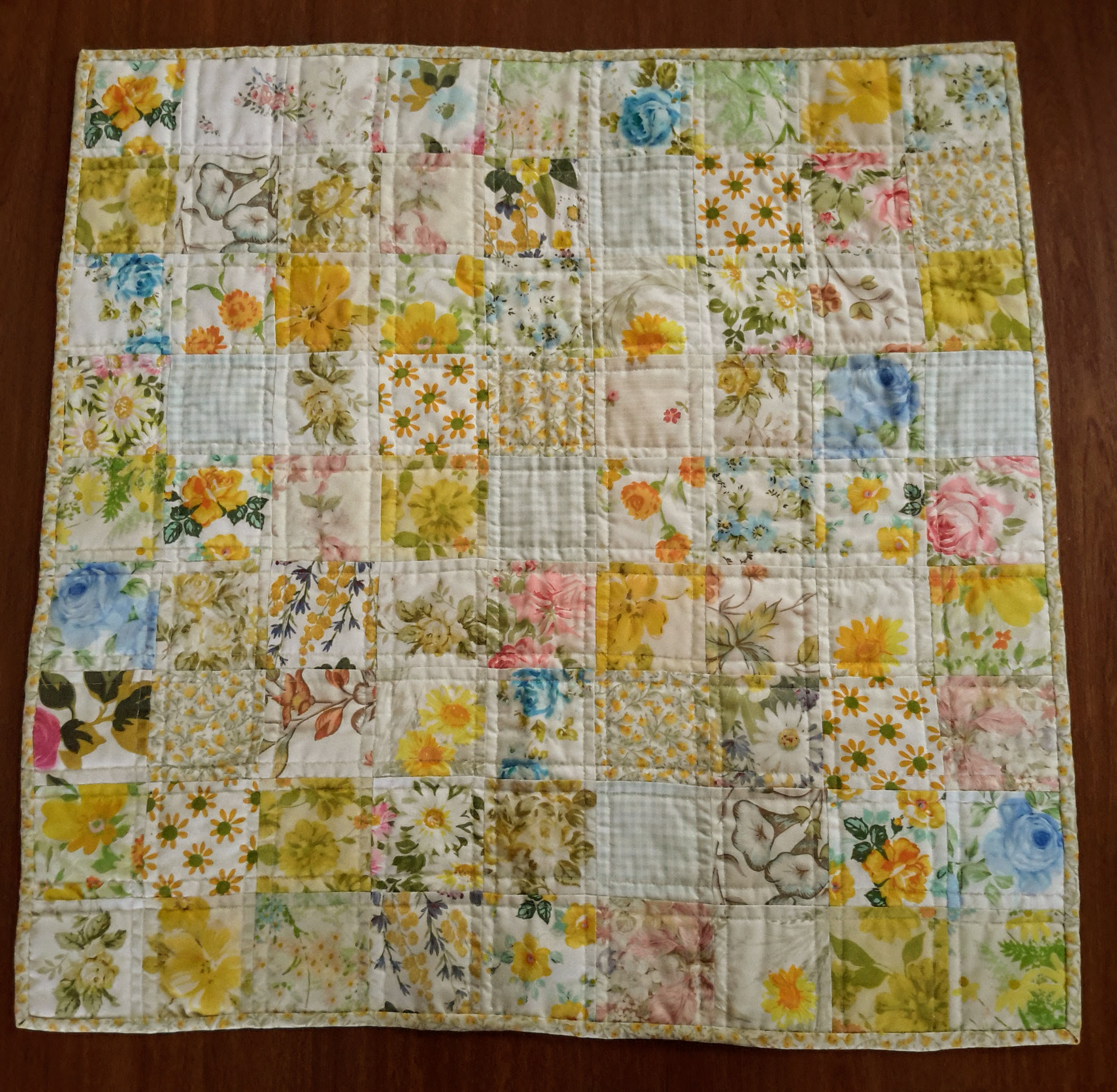 doll quilt made from pillowcases