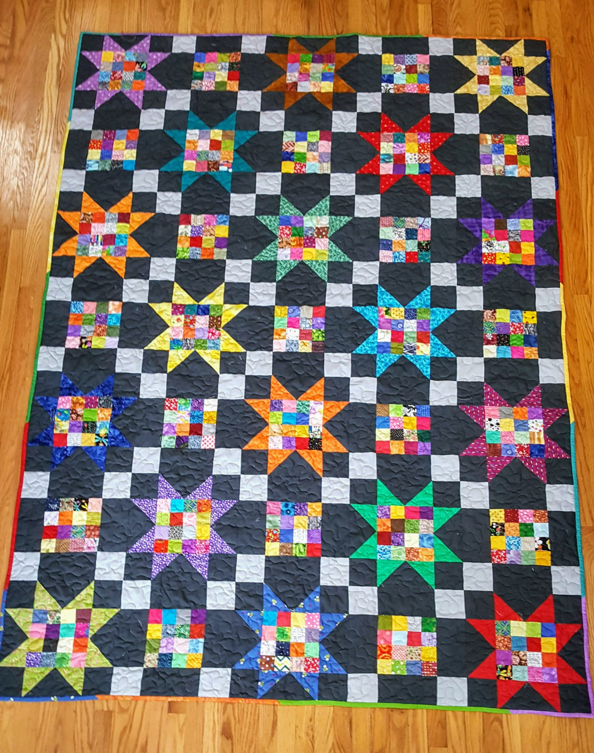 sawtooth star scrap quilt