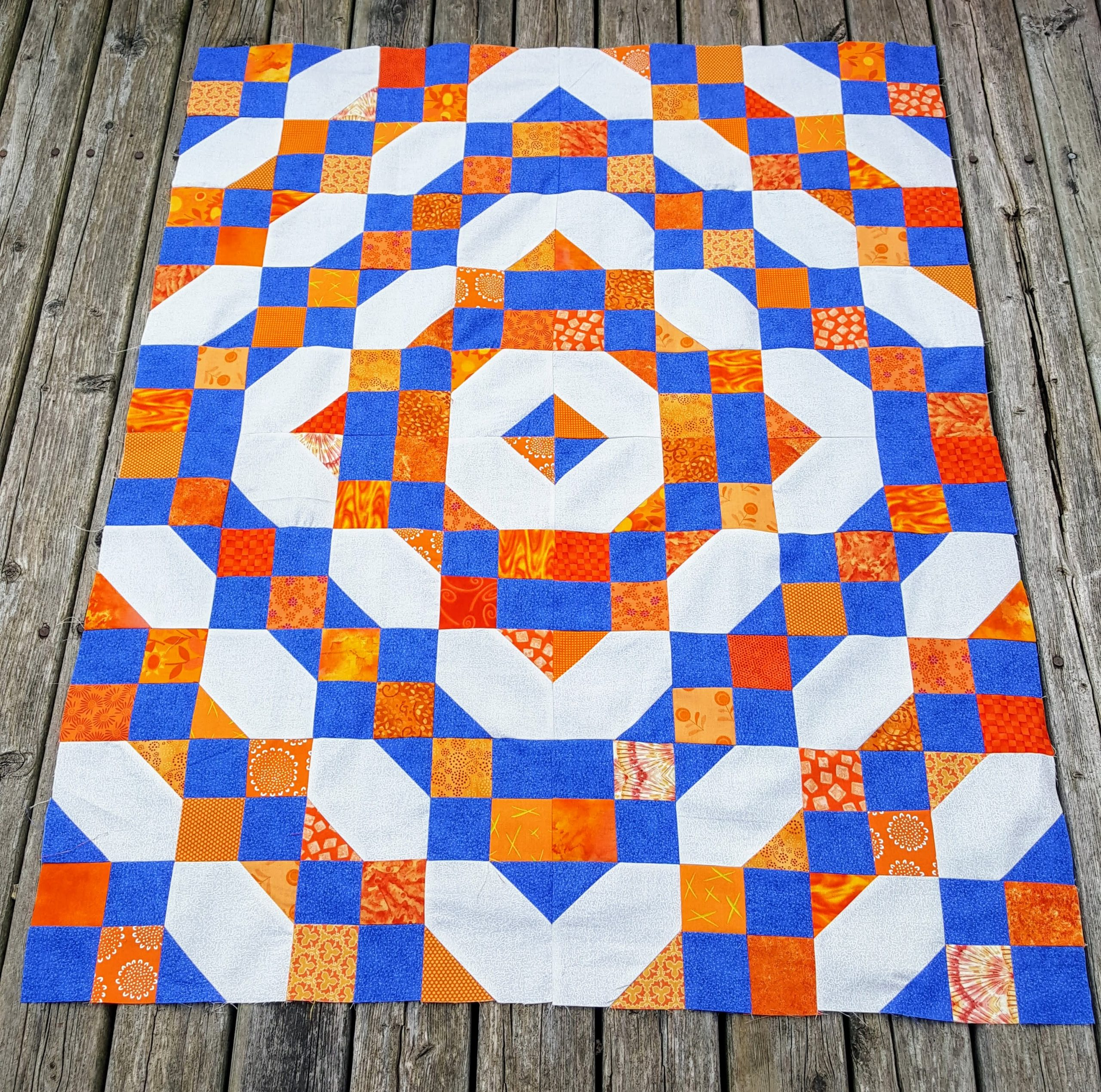 blue and orange quilt