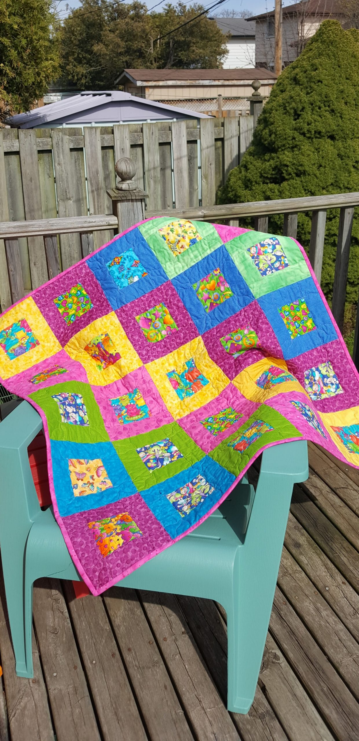 Bright happy blocks quilt
