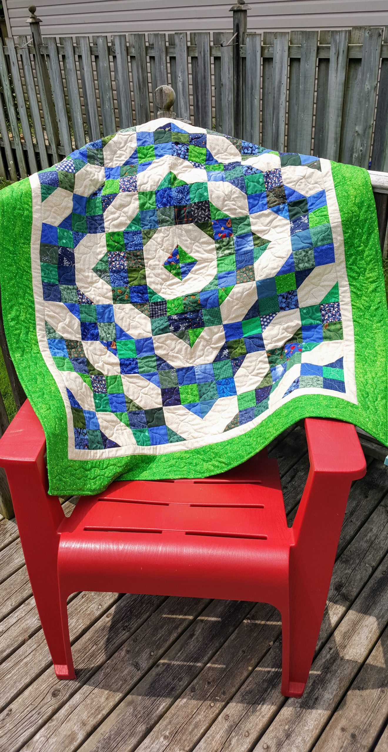 blue and green fourth of july quilt