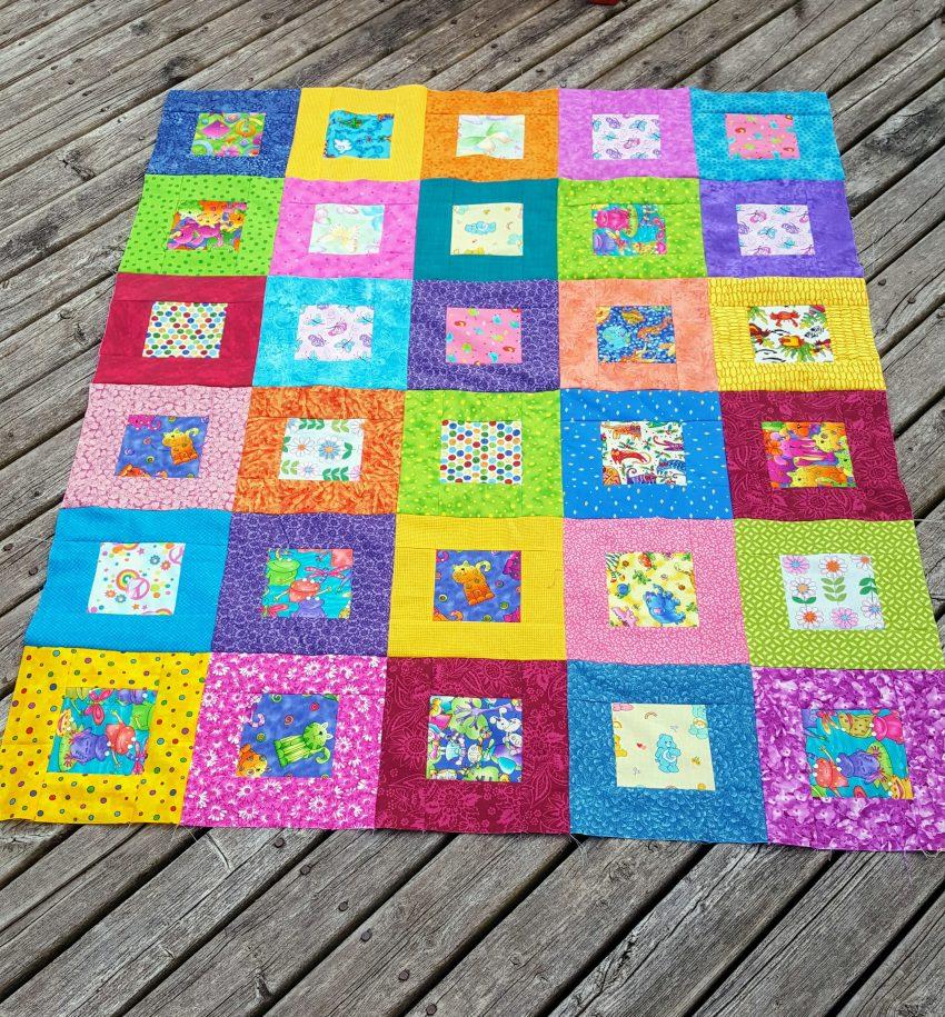 scrappy happy blocks quilt top