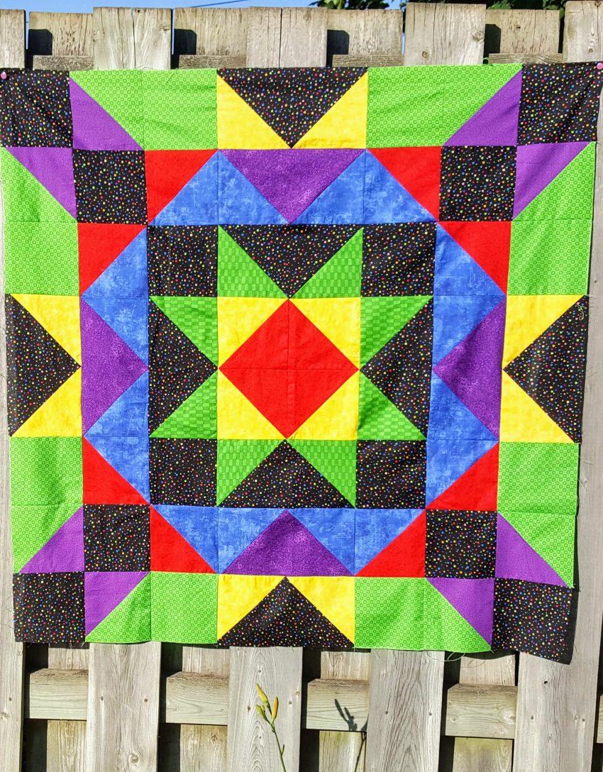 crayon box star quilt top