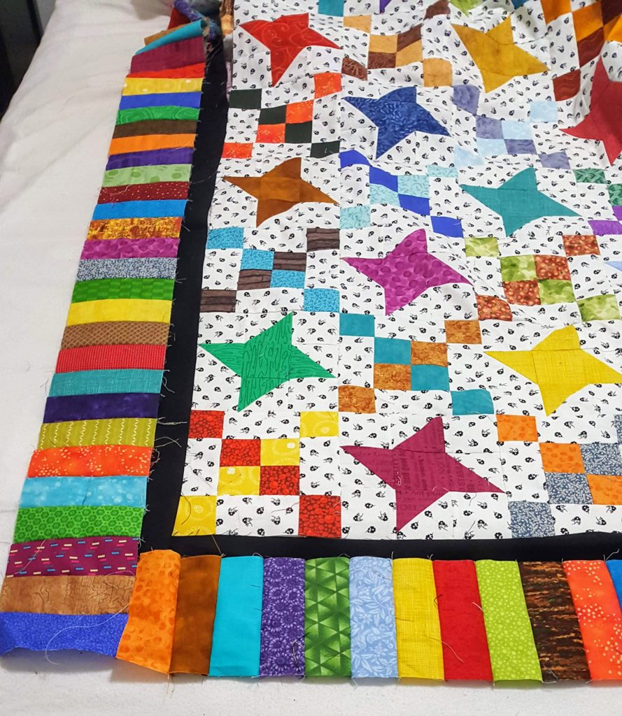 black inner border on 2020 Bonnie Hunter Leader Ender Quilt