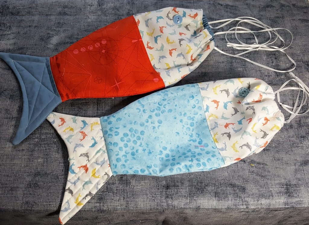 Fish shaped bags with quilted tails