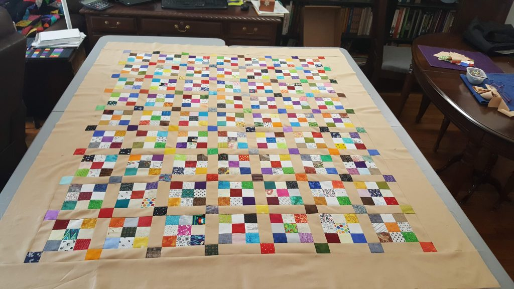Nine Patch quilt top with sashing